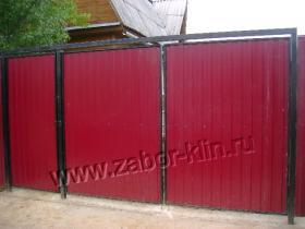 Ворота и калитка из профнастила в рамке